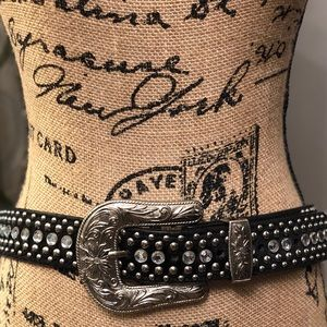 Black Leather and Cowhide Belt